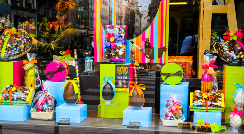Chocolate Easter eggs offered by chocolatier Jeff de Bruges in the 15th arrondissement