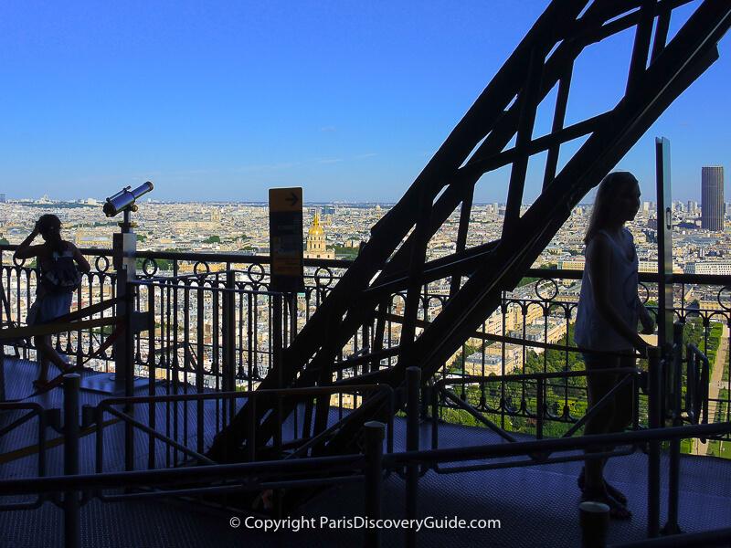 Paris skyline seen from the Eiffel Tower's Second Level observation deck