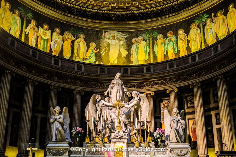 Eglise de la Madeleine's alter and magnificent statue of Mary Magdalene