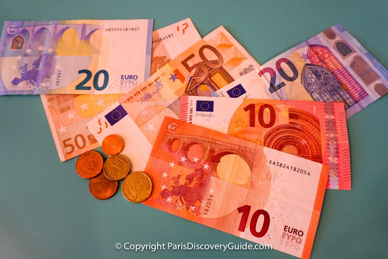 Euro bills and centimes