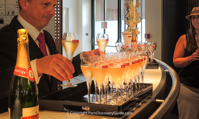 Champagne tasting at Mercier's reception room in Epernay, France