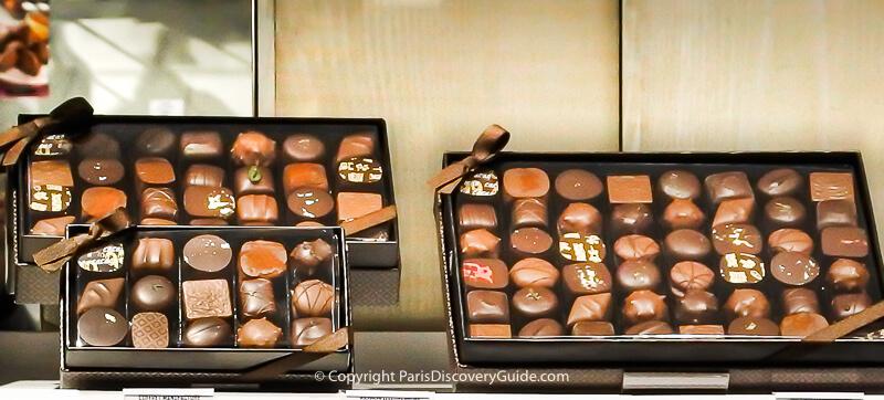 Gourmet chocolates from a famous chocolatier on Rue Saint-Honoré near Jardin des Tuileries