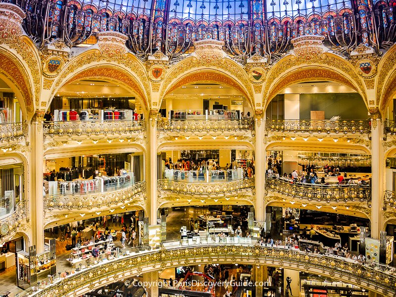 Central atrium under the stained glass dome at Galeries Lafayette