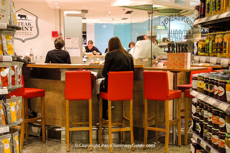 Tasting counter at Galeries LafayetteHaussmann's Food Hall