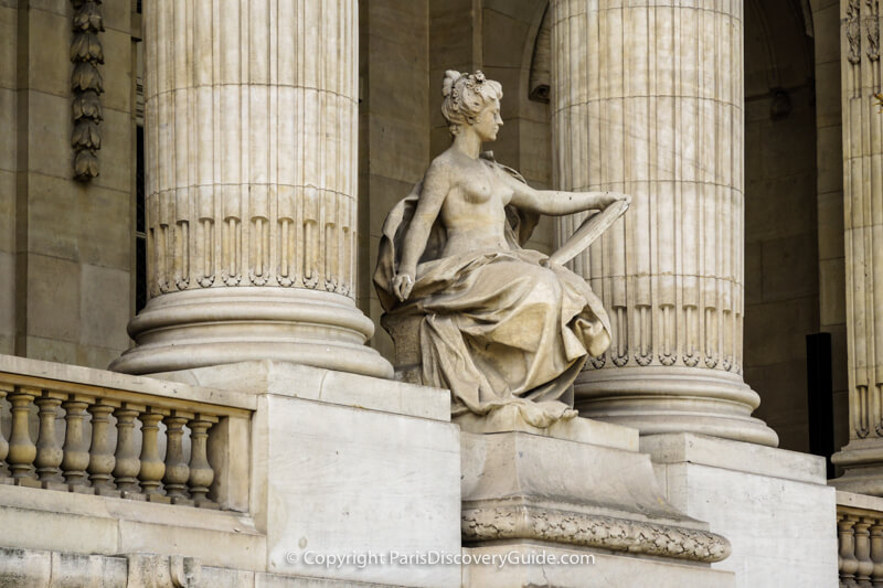 Statue on the front facade of the Grand Palais exhibition hall in Paris