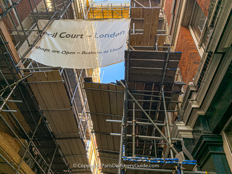 Scaffolding for renovations at London's Cecil Court