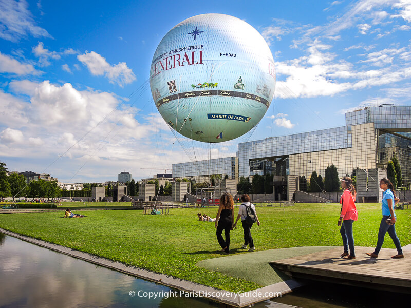 Hot air balloon tethered in Parc Andre-Citroen