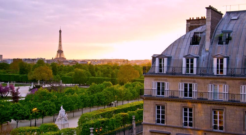 View of Jardin des Tuileries and Eiffel Tower from Hotel Regina, 5-star Paris hotel in the 1st Arrondissement