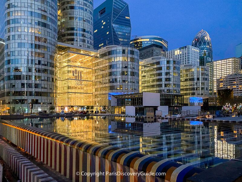 La Defense skyscrapers and reflecting pool on the Esplanade