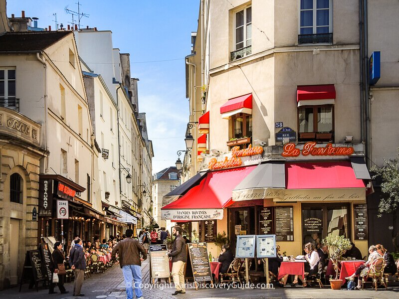 Restaurants on Rue Mouffetard and Rue du Pot de Fer in the Latin Quarter