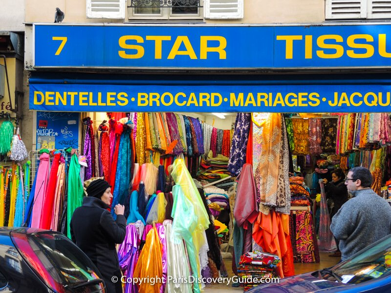 Fabricstore on Rue Livingstone in Montmartre specializing in fabrics for marriage and other ceremonies