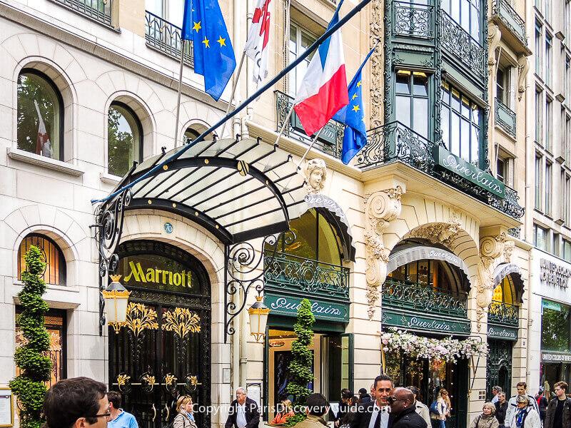 Paris Marriott Champs-Elysees Hotel and the onsite Guerlain perfumerie