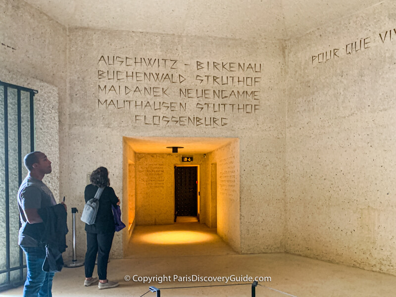 Names of the Nazi death camps on the wall of Memorial des Martyrs de la Deportation