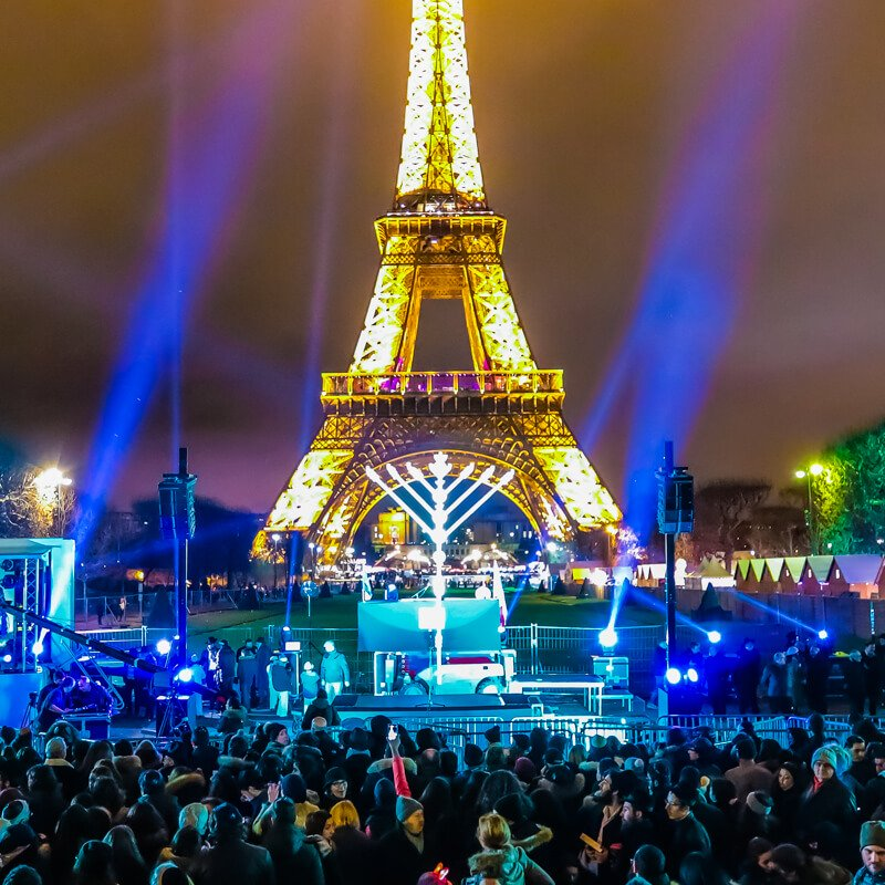 Close-up of the menorah at the Eiffel Tower  Courtesy of Chabad Lubavitch - Photo credit: Thierry Guez / Chabad.org