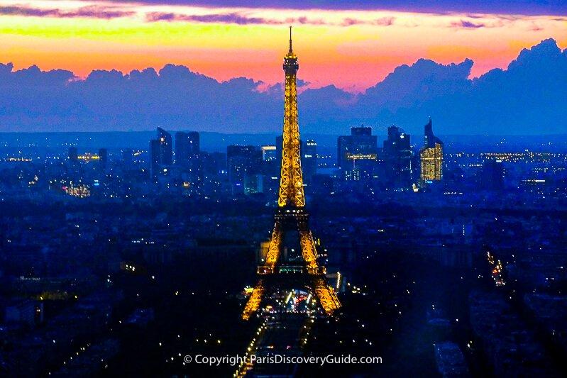 Paris skyline at night with Eiffel Tower