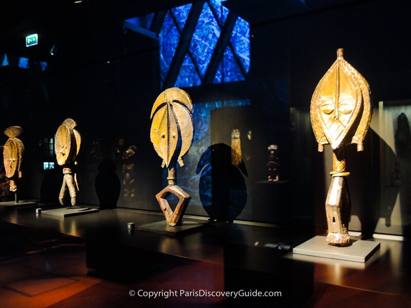 Funeral masks from Gabon on display at the Quai Branly Museum in Paris