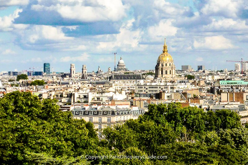 More Musée Cité de l'Architecture skyline views (from right to left) the golden dome of Invalides, the Pantheon, Saint-Sulpice towers, and a high-rise building on the Sorbonne's Latin Quarter campus