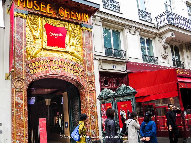 Rue Montmartre entrance to Musée Grevin in Paris's 9th arrondissement