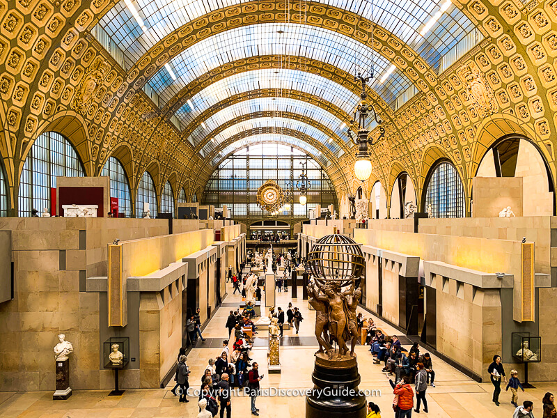 Musee d'Orsay, from the ground floor up; the museum's entrance stairs are under the clock