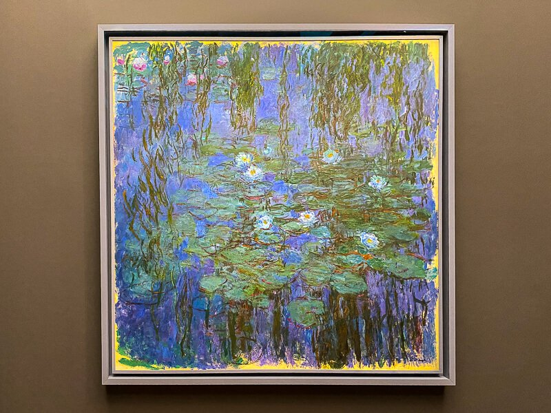 """Impressionist artist Claud Monet's """"Blue Water Lilies,""""inspired by water lilies growing in his pond at his home in Giverny; painted between 1916 and 1919"""