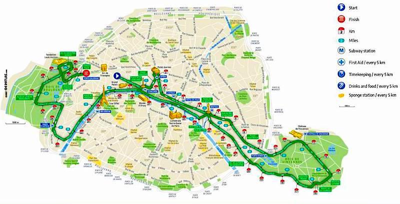 Paris Marathon race course, with markers showing miles and kilometer