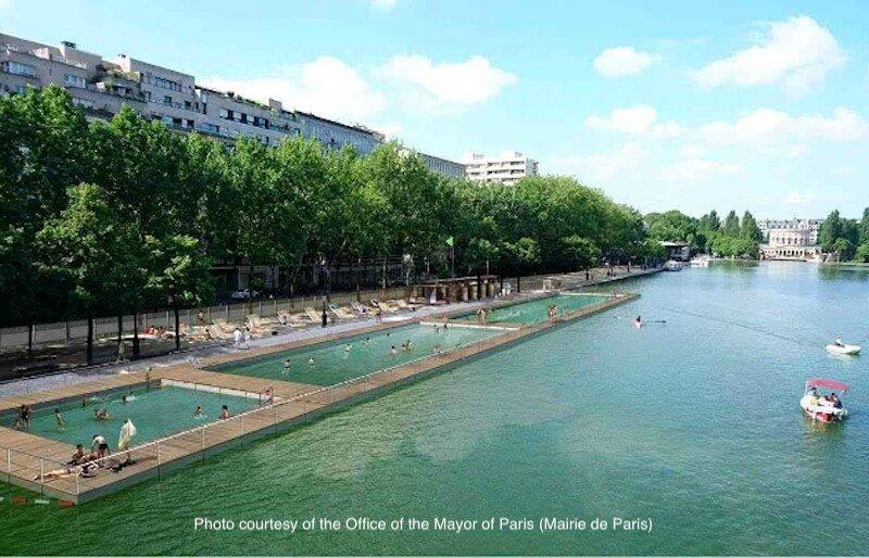Paris Plages swimming pools on the Quai de Loire of the Canal de l'Ourcq - Photo courtesy of Mairie de Paris