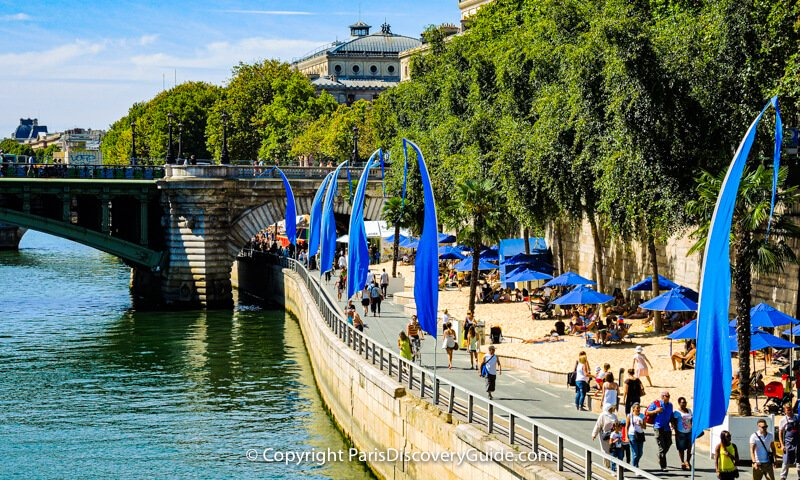 Paris Plage - sand and beach umbrellas along the Seine River