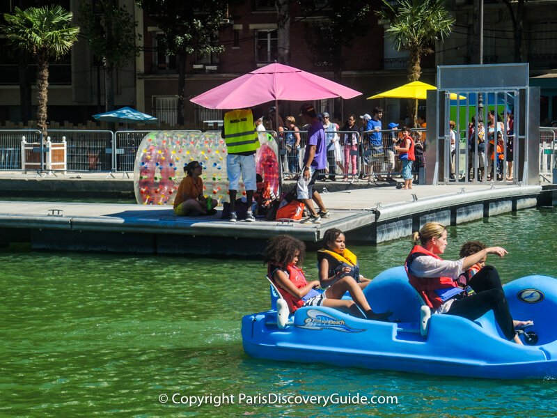 Pedal boats at Paris Plages in Bassin de la Villette