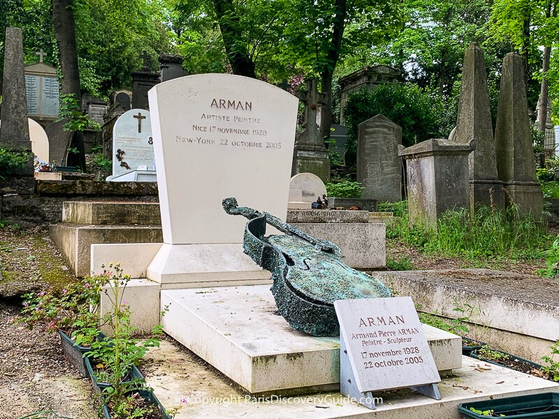 French artist Arman's grave at Pere Lachaise