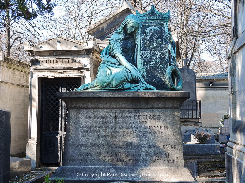 Sculpture of a sorrowful woman on the tomb of Leon Philippe Beclard