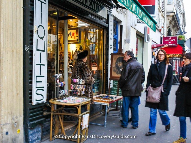 Antique and vintage shop on Rue des Abbesses in Montmartre, Paris