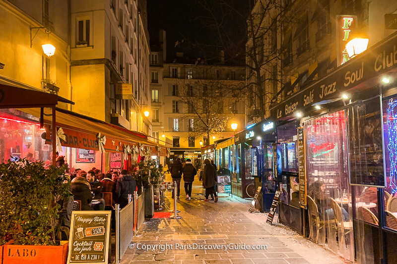 Jazz clubs along Rue des Lombards