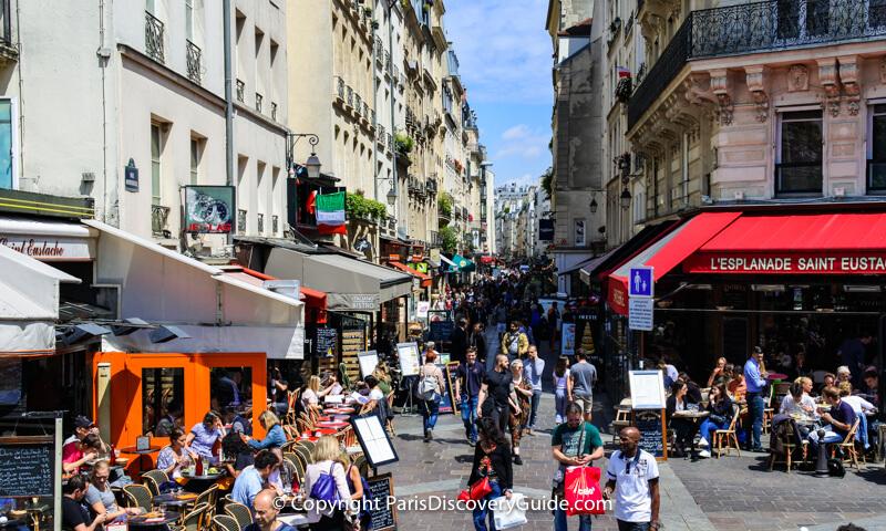 Rue Montorgueil near Saint Eustasche Church and Les Halles