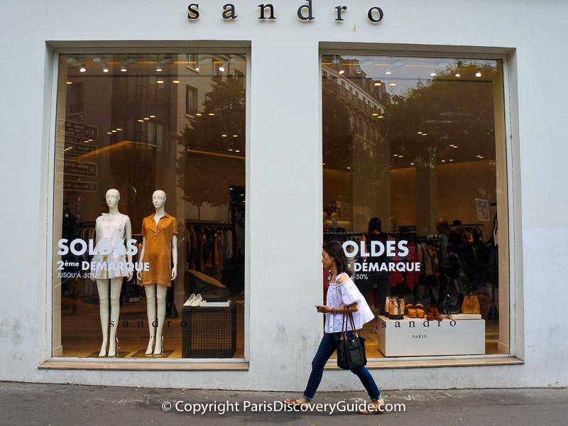 Paris summer sales at Sandro in the Marais