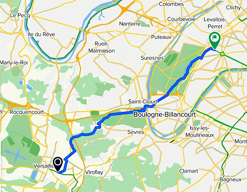 Bike route from Paris to Versailles (CLICK to get larger interactive map)