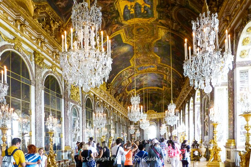 Hall of Mirrors in Versailles seen during a guided tour