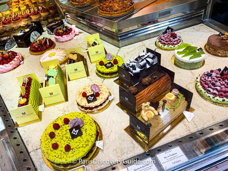 "A slice of Bûche de Noëlbeing served as dessert at ""La Cuisine de l'E7"" restaurant at Hotel Edouard VII near the Paris Opera House"