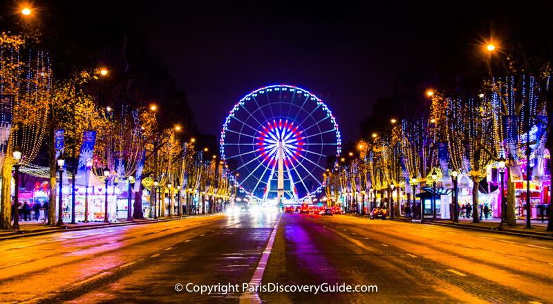 Christmas lights and decorations along Champs Élysées