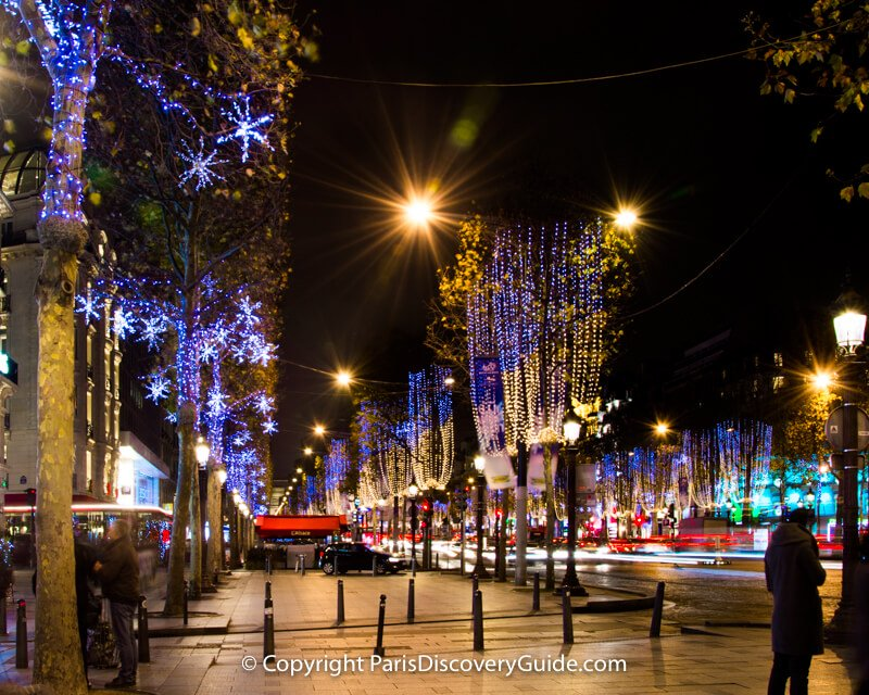 Christmas lights along Champs Elysees in Paris