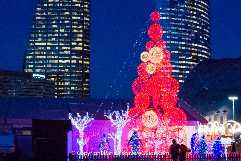 Lighted Christmas decorations at La Defense, Paris
