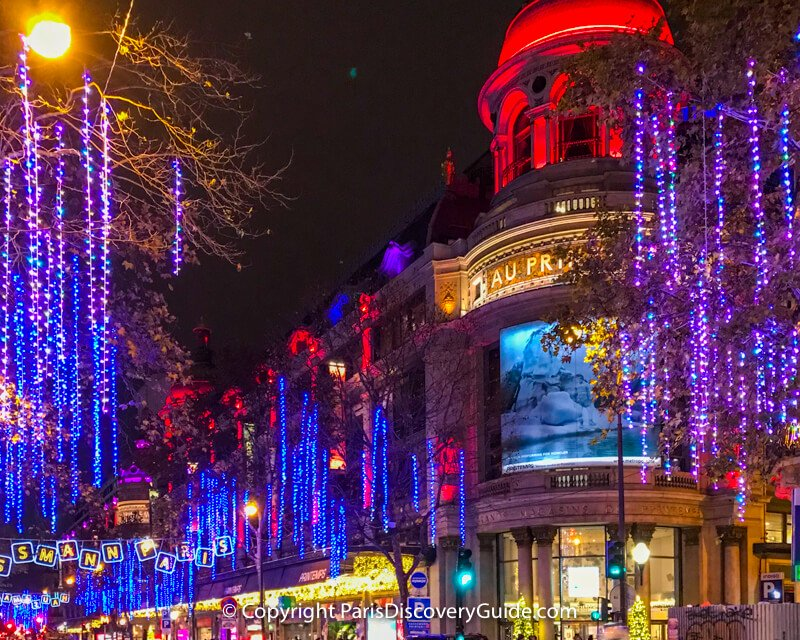 Christmas lights along Boulevard Haussmann near Au Printemps department store