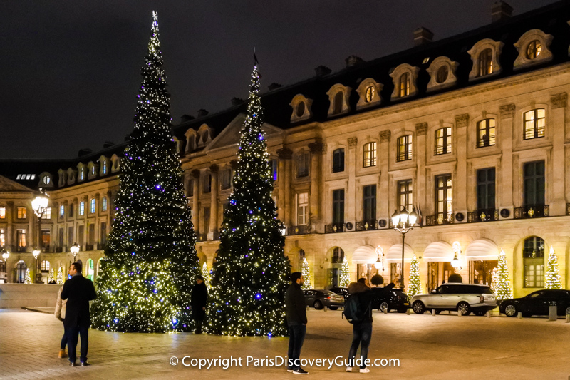 Christmas lights in Place Vendome in Paris