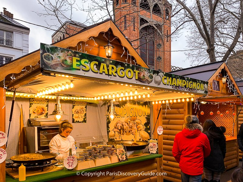 Sample the escargot and champignons at this Christmas Market chalet