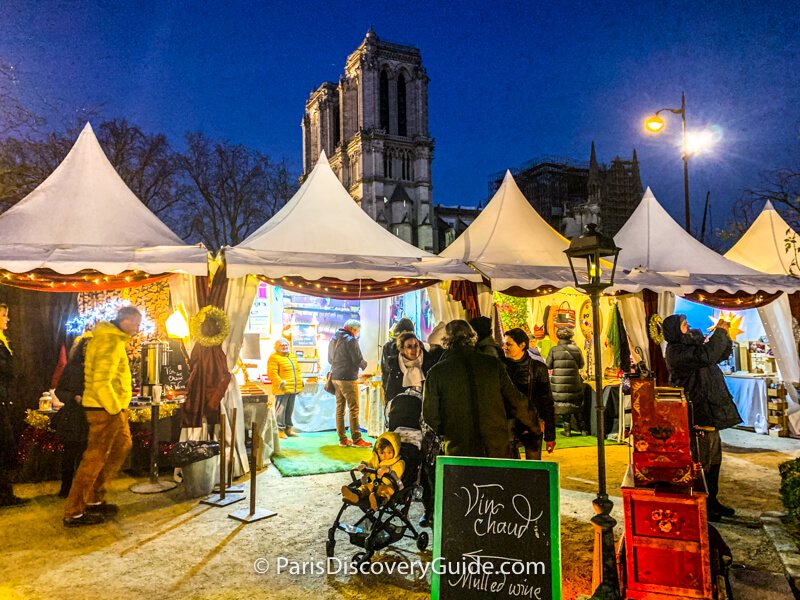 Christmas Market across from Notre Dame Cathedral in Paris