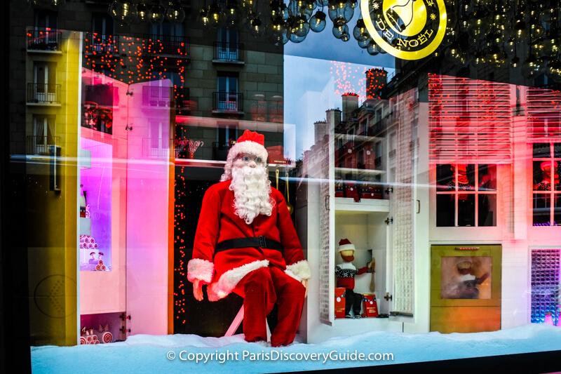 A jolly Santa in Bon Marché's window