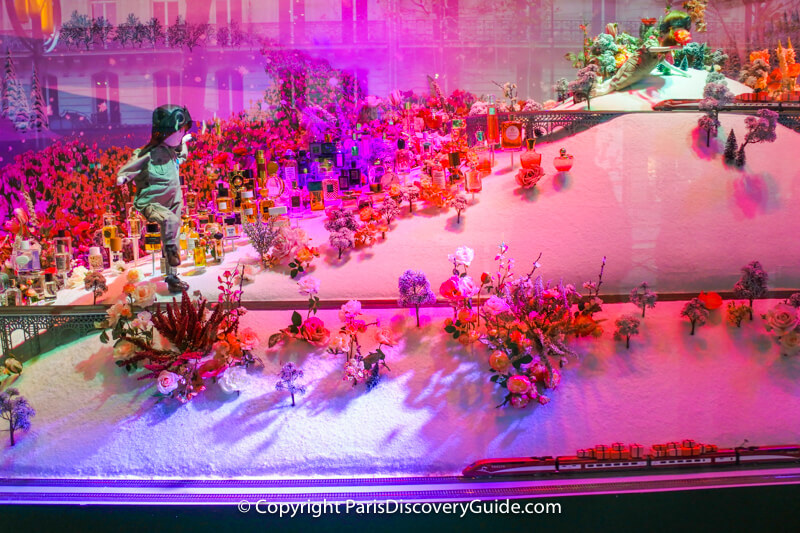 In this Printemps Haussmann window display, children take various types of transportation in their search for Christmas gifts