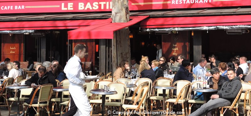 Cafe across from the Place de la Bastille, in Paris's 11th Arrondissement
