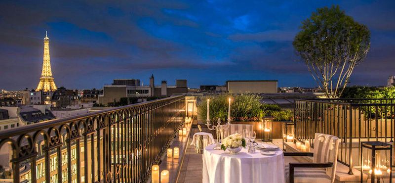 Rooftop restaurant view at the Peninsula Paris