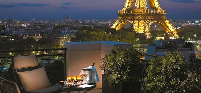 View of the Eiffel Tower from guestroom at Shangri-La Paris Hotel