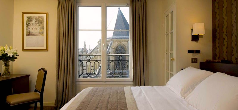 View from guestroom at Hôtel Henri IV in the Latin Quarter